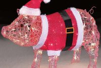 Holiday Christmas Lighted Indoor Outdoor Santa Hat Pink Pig Yard Art intended for size 1000 X 1000